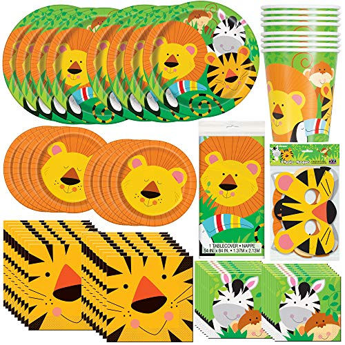 Unique Animal Jungle Party Bundle | Luncheon & Beverage Napkins, Dinner & Dessert Plates, Table Cover, Cups, Masks | Great for Zoo/Safari/Forest Birthday Themed Parties ()