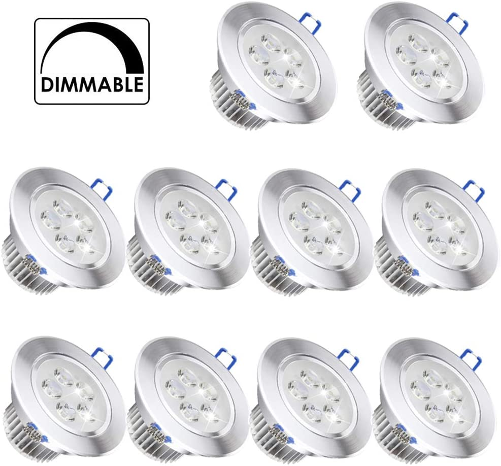 10 Pack,Pocketman 110V 5W Dimmable LED Ceiling Light Downlight,Cool White Spotlight Lamp Recessed Lighting Fixture,with LED Driver