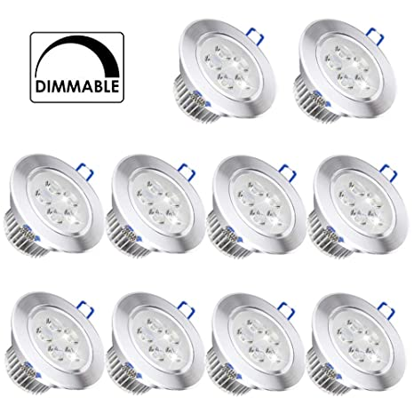 10 Pack, Pocketman 110V 5W Dimmable LED Ceiling Light Downlight, Warm White Spotlight Lamp Recessed Lighting Fixture, with LED Driver - - Amazon.com