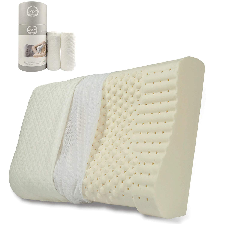 Oreiller de lit soutient Le Cou et la t/ête avec Une Oreillers en Latex /à m/émoire Naturelle Super rebondie Format Standard 24 x 15,8 po. GOODTEL Oreiller en Latex
