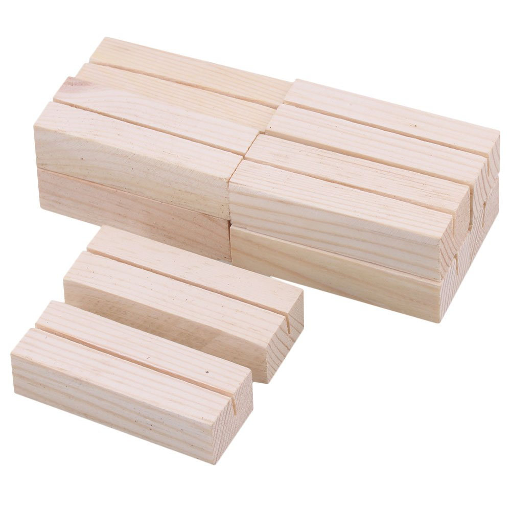 RDEXP 6.7x2.5x1.8cm Pine Wood Postcard Card Holder Wood Table Numbers Party Wedding Table Name Card Holder Set of 10