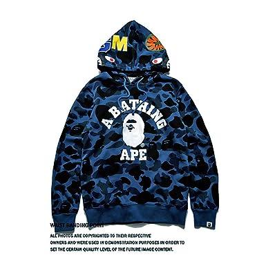 c8e304d3ade7 Amazon.com  Men s Bape A Bathing Ape Full Zip Shark Head Camo Hoodie Coat  Sweatshirt Jacket Funny Tops Casual Coat for Boys Size XXL  Clothing
