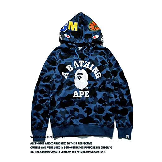 bc370649d800 Amazon.com  Men s Bape A Bathing Ape Full Zip Shark Head Camo Hoodie Coat  Sweatshirt Jacket Funny Tops Casual Coat for Boys  Clothing