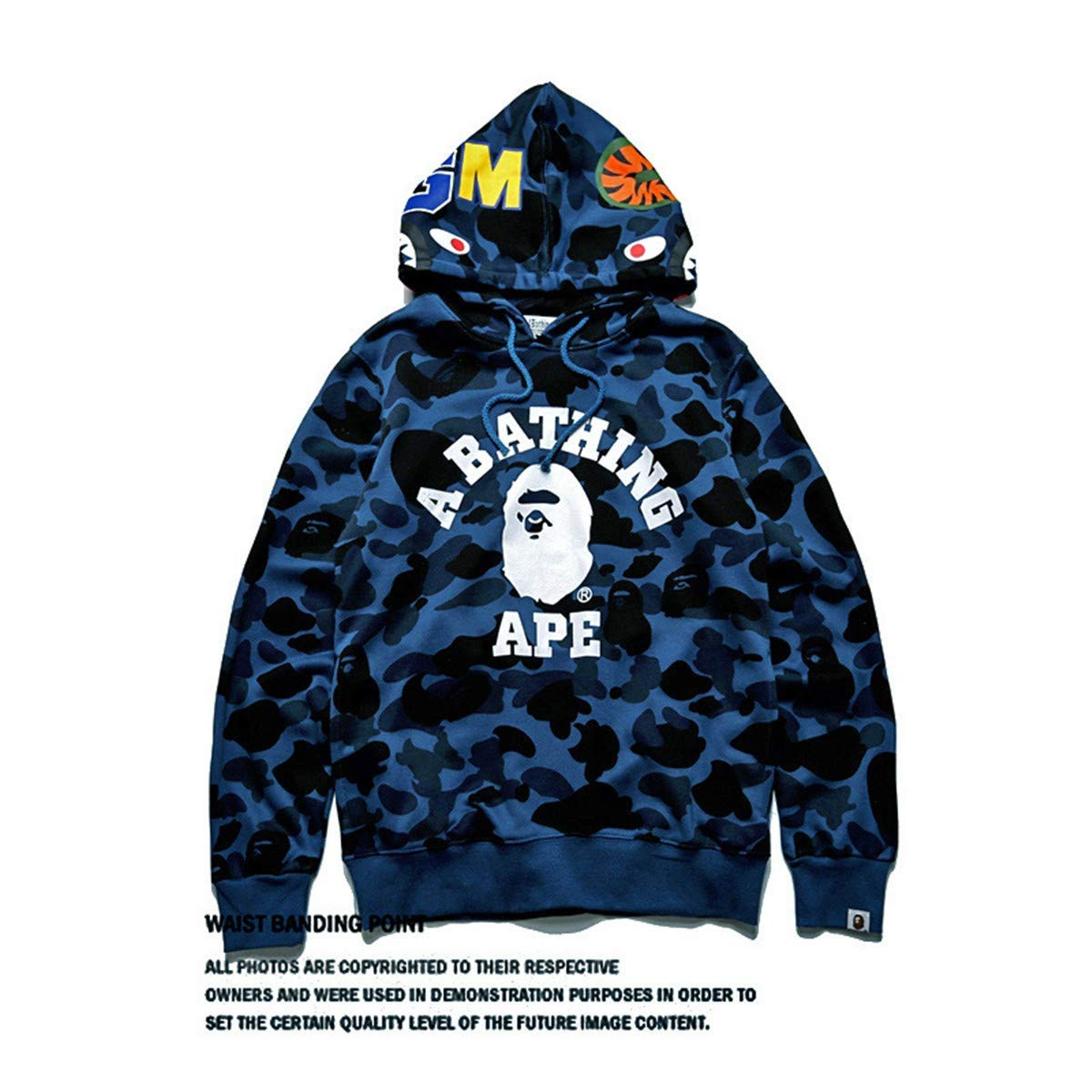 49b3f5c2 Men's Bape A Bathing Ape Full Zip Shark Head Camo Hoodie Coat Sweatshirt  Jacket Funny Tops