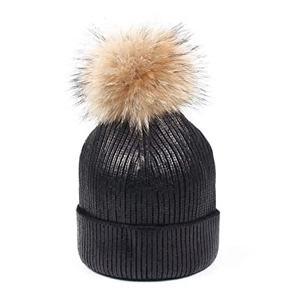 Dig dog bone Knitted Sequin Pompom Hat Winter Women s Oversized Thick Soft Beanie  Hats Cap. 769d7f43f26