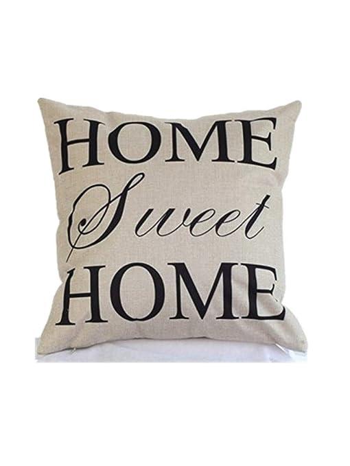 Xuxuou Fundas de Almohada de Lino cómodo Simple Home Sweet ...