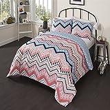 OSD 2pc Girls Light Pink Blue White Tribal Chevron Comforter Twin XL Set, Girly Horizontal Zigzag Tribe Bedding, Color Boho Chic Southwest Polka Dot Dots Themed Pattern, Navy Coral