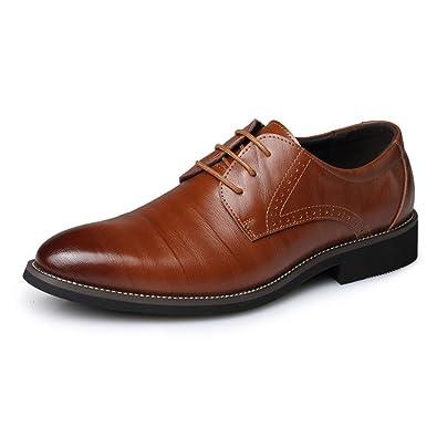 SHELAIDON Herren Schnürhalbschuhe Leder Schuhe Lederschuhe Klassiker Oxfords Derby Business (EUR40,blue)