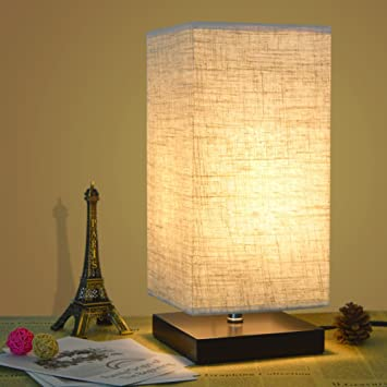 bedroom table lamp. ZEEFO Simple Table Lamp Bedside Desk With Fabric Shade and Solid Wood  for Bedroom
