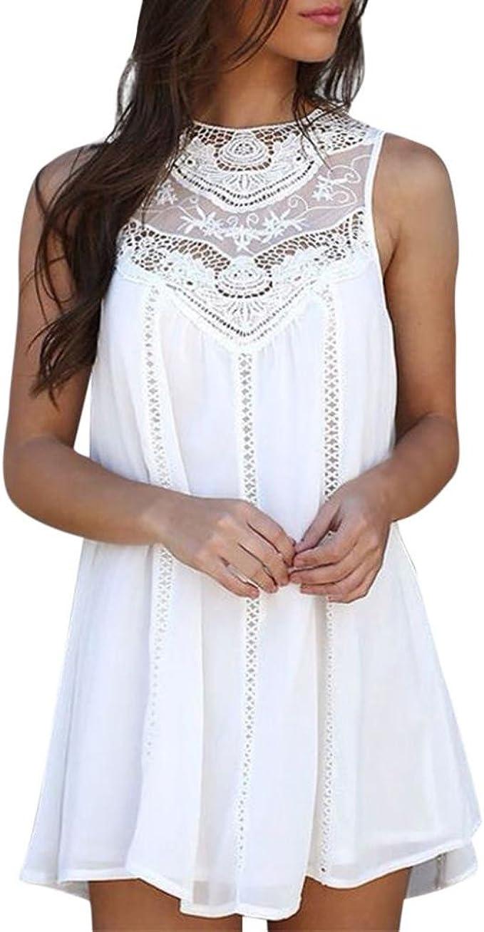 Mini Vestido de Gasa Mujeres Camisetas Casuales Blusa de Costura de Encaje sólido O-Cuello sin Mangas Tops Camisas Mujer Xinantime: Amazon.es: Ropa y accesorios