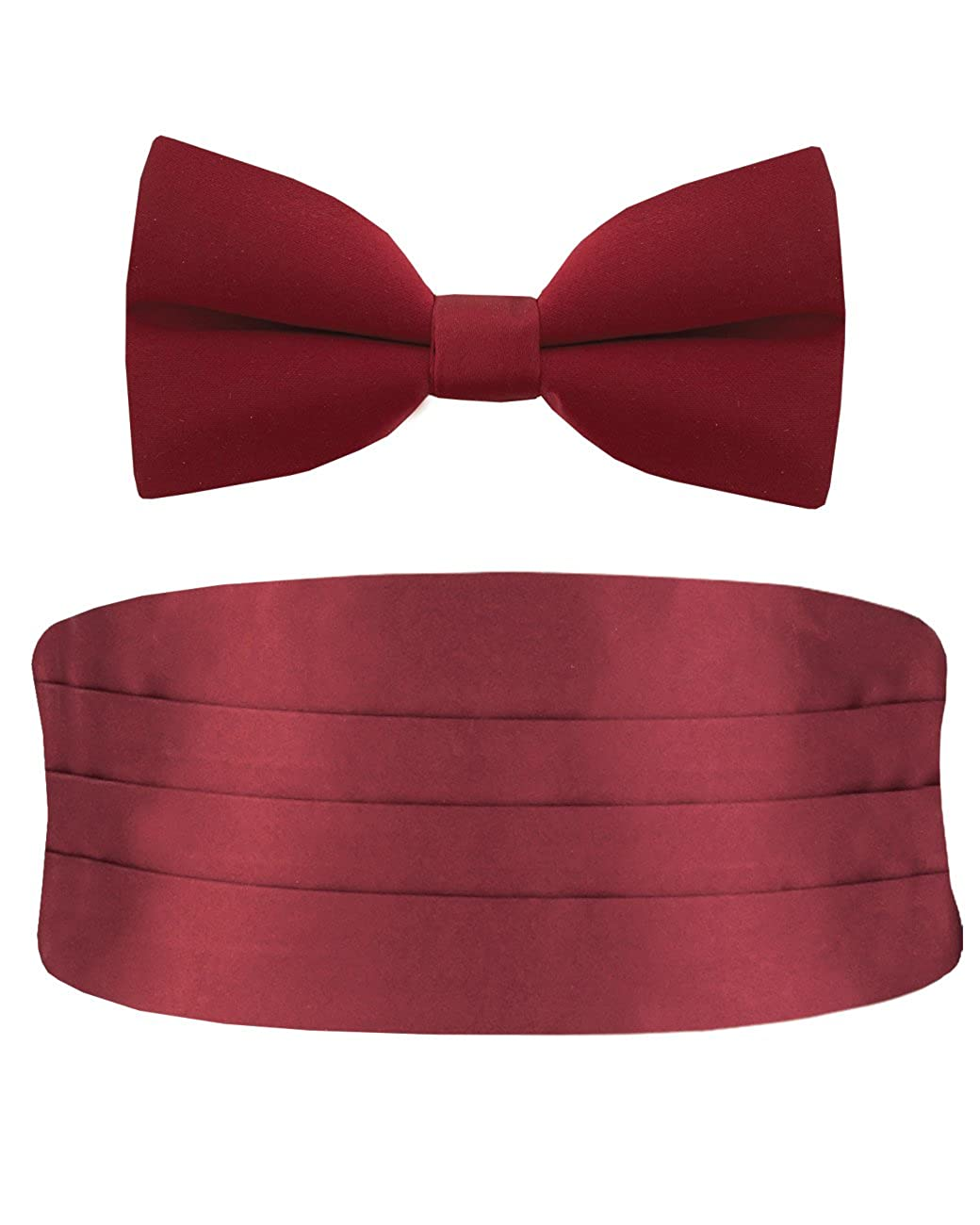 Dobell Clothing Mens Polyester Burgundy Cummerbund Pre-Tied Bow Tie Set GSCBM04DP200R