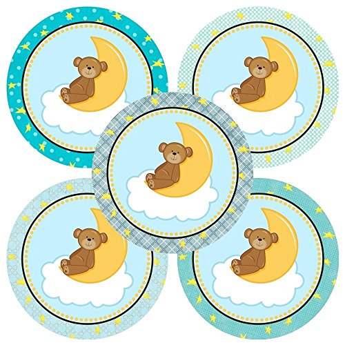 Blue Teddy Bear On the Moon Stickers - Boy Children Birthday Baby Shower Party Supplies - Set of 50
