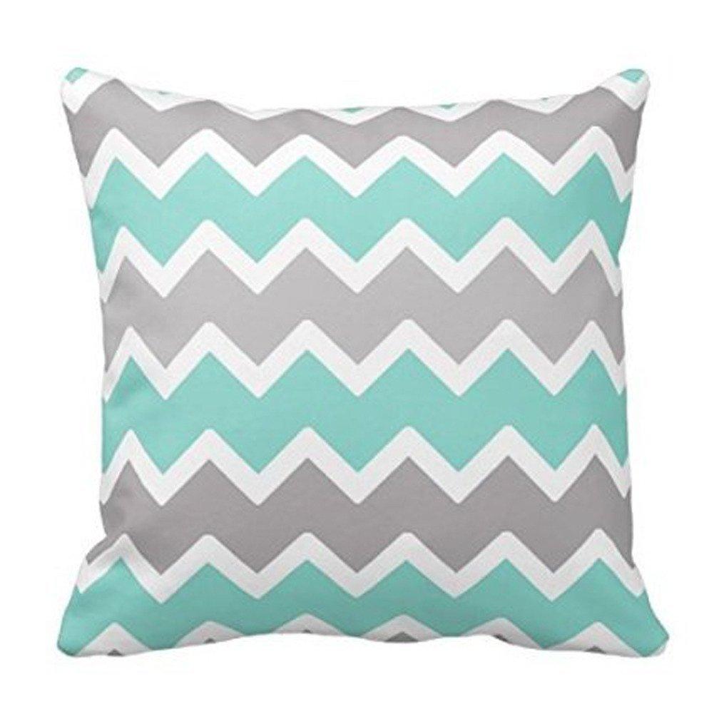 nikou Aqua azul, blanco y gris Zig Zag manta almohada patrón de ...
