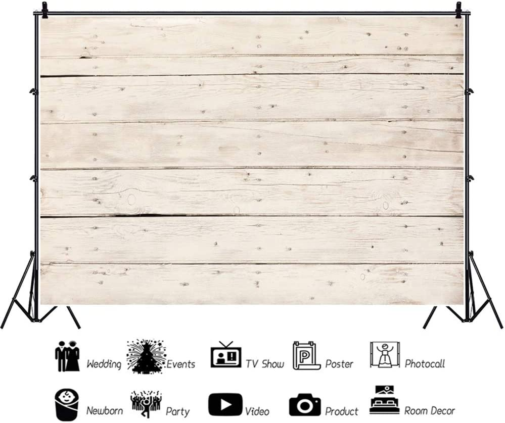 Leowefowa Rustic Weathered Plain Wood Plank Backdrop 10x8ft Vinyl Old Lateral-Cut Wood Board Photography Background Child Adult Portrait Shoot Birthday Baby Shower Party Banner Wallpaper