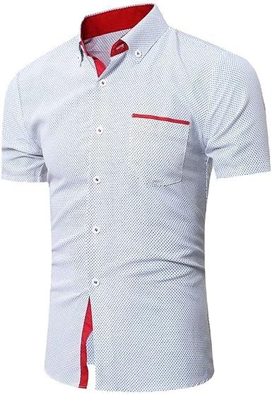 2018 Tops De Moda Camisas para Hombre De Verano Ocio Camisas Hombres Hombres Casual Camisa De Manga Corta Business Slim Shirt Dot Print Blusa Tops: Amazon.es: Ropa y accesorios