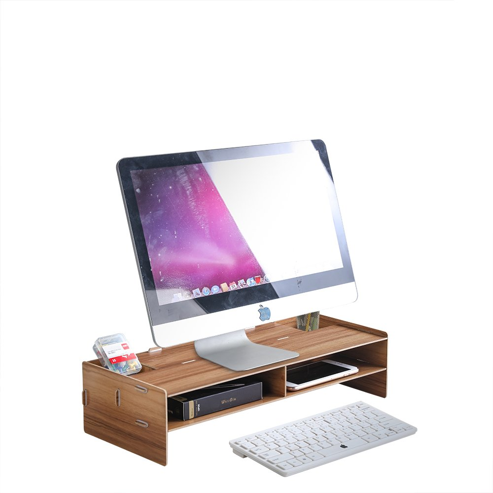 HomJoy Wooden Monitor Stand, DIY Desktop Organiser with 4 Compartments for Home Office Supplies and Storage Space for Keyboard, Screen Riser for Computer/Laptop / TV (Off-White)