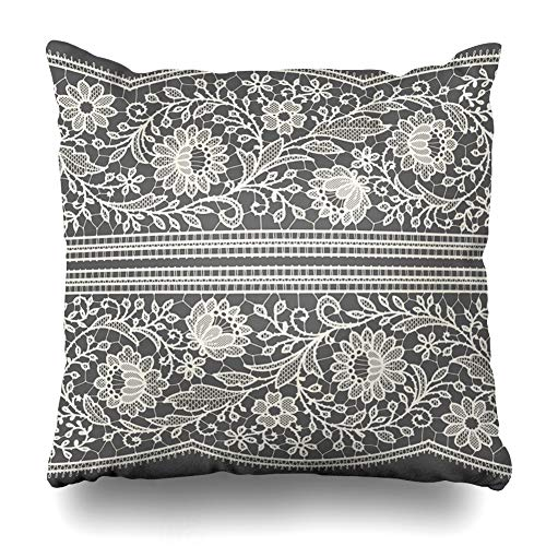 Ahawoso Throw Pillow Cover Black Beige Floral White Lace Ribbon Vintage Birthday Gray Pattern Toile Wide Design Nuptials Zippered Pillowcase Square Size 16 x 16 Inches Home Decor Cushion Case