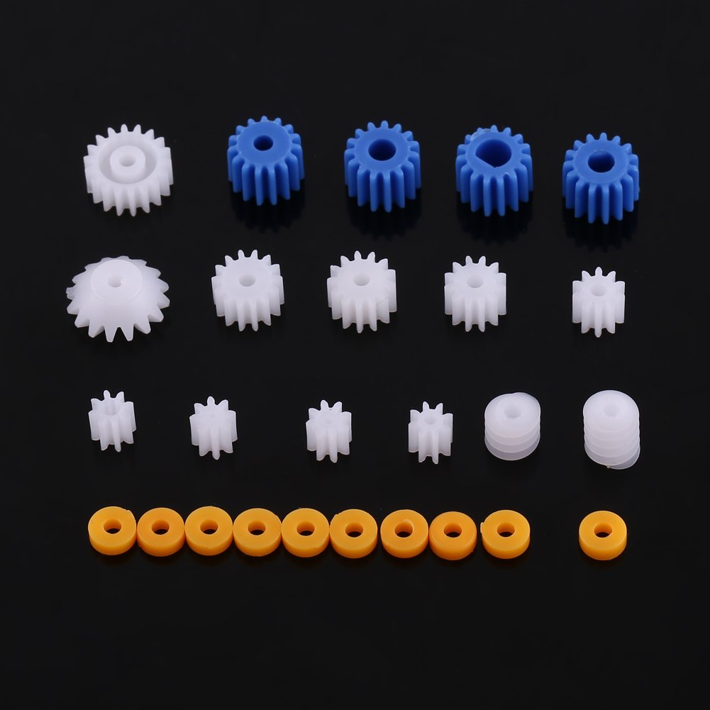 26 Pcs Plastic Spindle Worm Gear & Sleeve 2MM/2.3MM/3MM/3.17MM/4MM for Aircraft Car Model Zerone