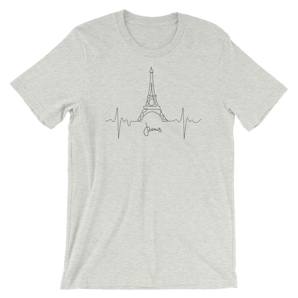 France, Europe World Traveler T-Shirt Gift for The Traveler Heartbeat Continuous line Drawing of Paris Eiffel Tower