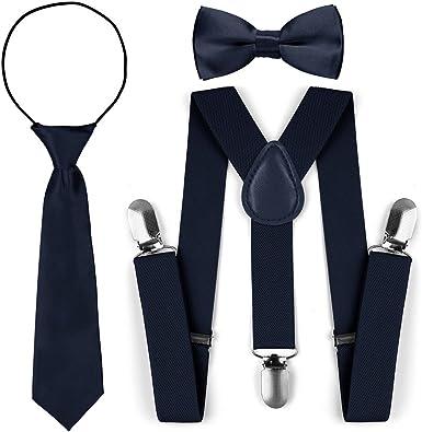 Juego de corbata para corbata de lazo de tirantes elásticos ajustables para niños (Armada): Amazon.es: Ropa y accesorios