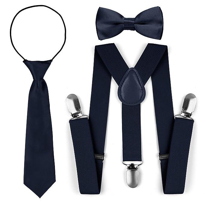 Juego de corbata para corbata de lazo de tirantes elásticos ajustables para niños (Armada)