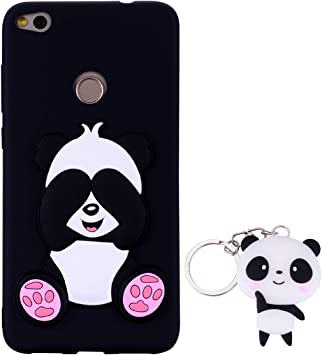 HopMore Silicone Coque pour Huawei P8 Lite 2017 Souple Motif Panda 3D Design Drôle Mignonne Etui Étui Antichoc Ultra Mince Fine Gel Bumper Slim Case ...