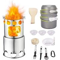 Qunlei - Juego de Utensilios de Cocina para Acampada con Estufa de Madera Antiadherente de Aluminio anodizado, Kit…