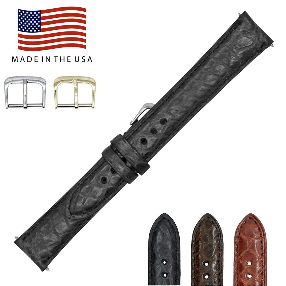17mm Black Genuine Millennium Alligator - Padded Stitched - Factory Direct - Smaller Tile Watch Strap Band - Gold and Silver Buckles - Made in The USA by Real Leather Creations FBA1211
