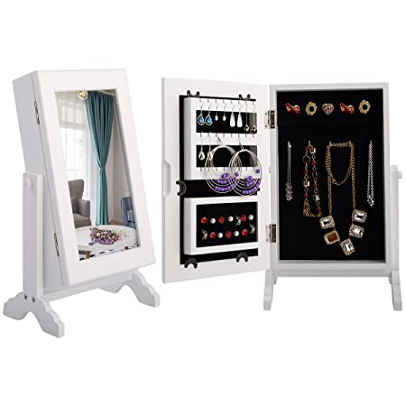 Costway Jewellery Mirror Cabinet Jewelry Stand Armoire Box Storage  Countertop Organizer For Rings, Earrings,