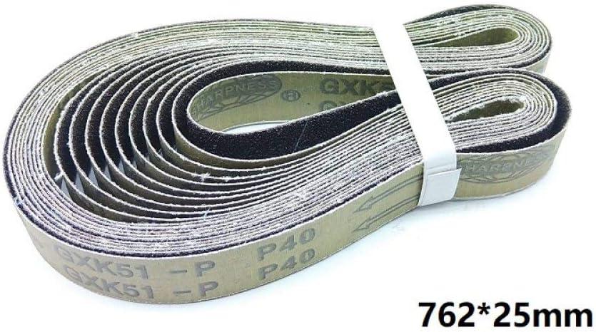 40# GHKUFH Cintur/ón abrasivo Nueva correa abrasiva abrasiva de 10 piezas 762 25 mm en lijadora de banda met/álica GXK51 para acondicionamiento de superficies de soldadura