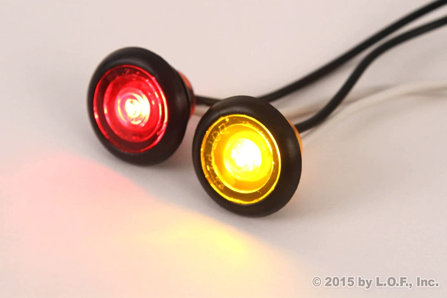 3//4 Inches Amber /& Red LED Clearance Side Marker Lights Truck Trailer Pickup Flush 6