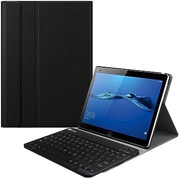 KILISON Huawei MediaPad T5 10 Teclado Estuche Funda [QWERTY Formato], Slim PU Cuero Stand Detachable Wireless Teclado Funda Case Cover para Huawei ...