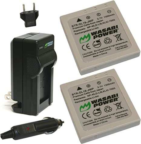 2-Pack and Charger by Wasabi Power NP-40N Battery Fujifilm NP-40