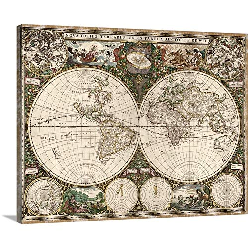 (Solid-Faced Canvas Print Wall Art Print Entitled Antique Map of The World, 1660 20