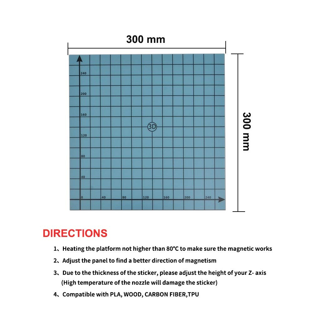 SOOWAY 220 x 220mm Flex Magnetic Two layer Print Hot Bed Sticker Build Surface Tape for 3D Printer Build Platform Heated Bed Compatible with Creality Ender 3 Anet A8 blue 220x220mm