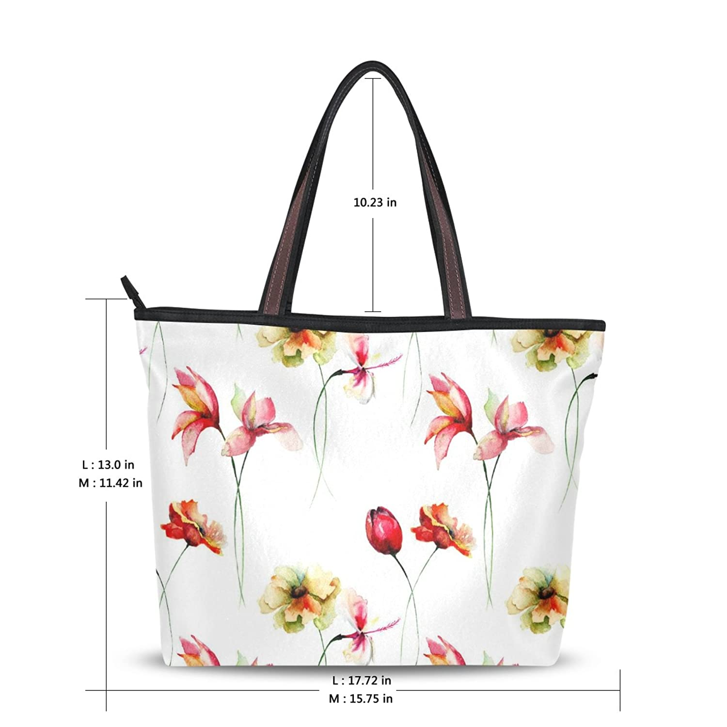 LEEZONE Women Fashion Microfiber Shoulder Handbags with Watercolor Flower Printing Tote Bags