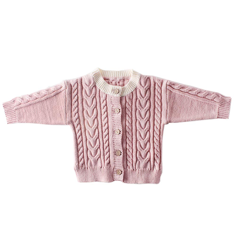 Newborn Baby Spring&Autumn Sweater Knitted Twist Coat Solid Color Cardigan Light Pink by XINXINHAIHE