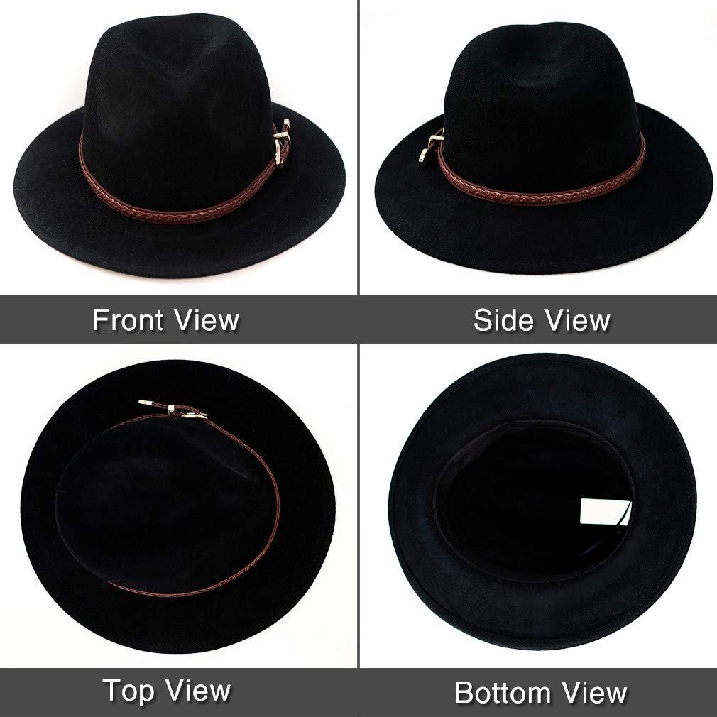 f1aa121762 Anycosy Wool Fedora Hat Women's Felt Panama Crushable Vintage Style with  Leather Band
