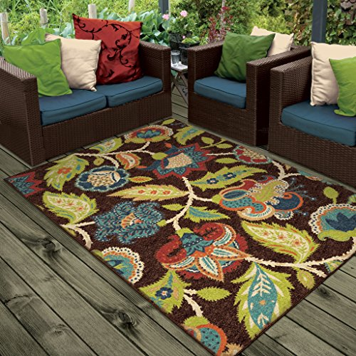 Orian Rugs Indoor/Outdoor Floral Basil Brown Area Rug (5'2