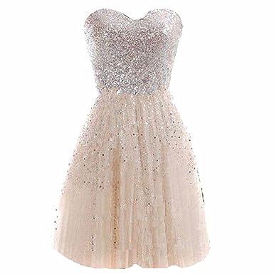 2f5f921c Short Mini Cocktail Dress Bridesmaid Dress Formal Sequins Dresses Champagne  L: Amazon.co.uk: Clothing