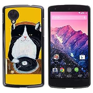 TopCaseStore / la caja del caucho duro de la cubierta de protección de la piel - Kitten Black Yellow Music Cat - LG Google Nexus 5 D820 D821