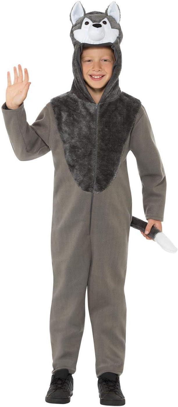 Smiffys 49699S - Disfraz de lobo, unisex, para niños, color gris, talla S, para niños de 4 a 6 años