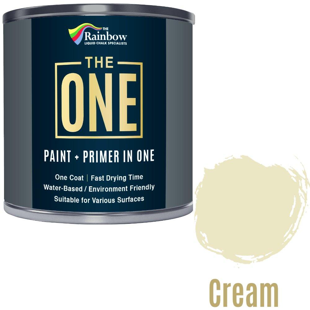 Una pintura, una capa, Multi superficie pintura para madera, metal, plá stico, interior, exterior, color crema, Mate, 250 ml plástico 250ml Rainbow Chalk