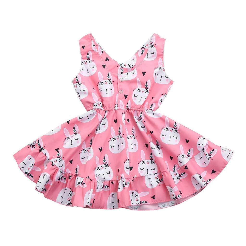 Baby Sleeveless Dress, Hopwin Girl Kids Rabbit Print Waist Princess Vest Dresses Pink Swing Sundress (12-18 Months, Pink)