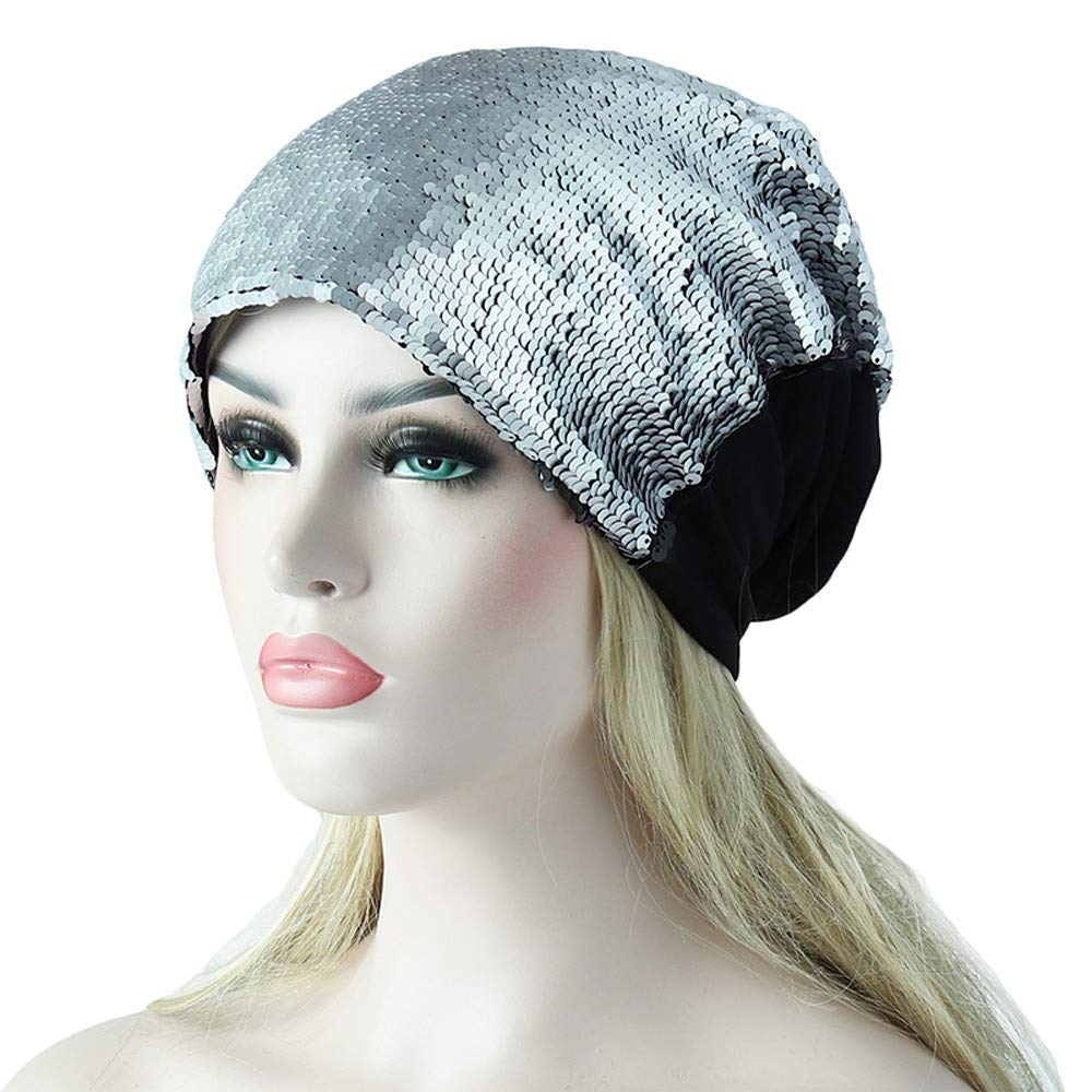 Amazon.com   Residen The Abbey Cap in Cotton Knit Sequin Chemo Caps Cancer  Hats for Women (Silver)   Beauty f2681b4576d