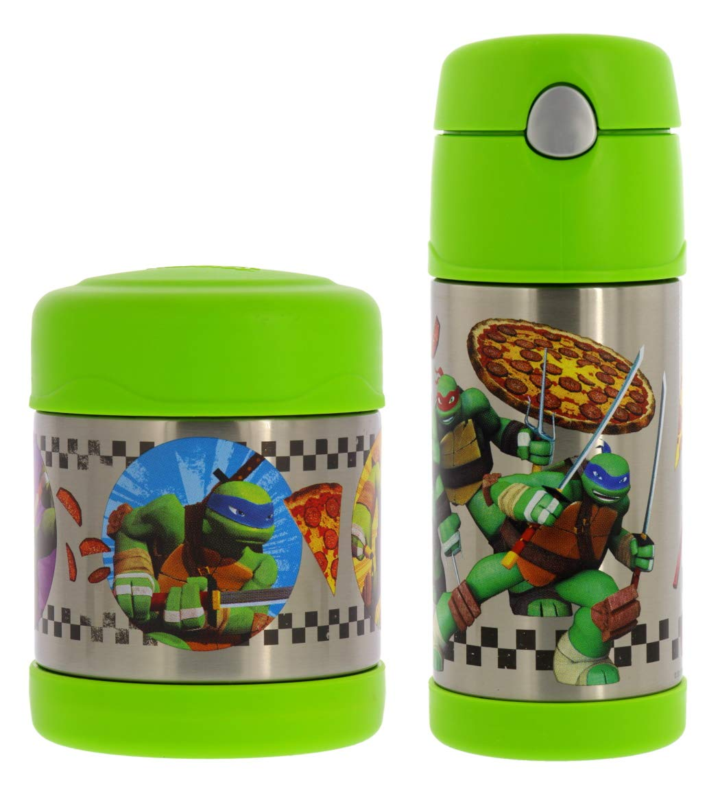 Thermos Vacuum Insulated Stainless Steel 10oz Food Jar & 12oz Water Bottle w/Straw Set - Tasteless and Odorless, BPA Free, Great for Children, Lunchbags, Travel-TMNT
