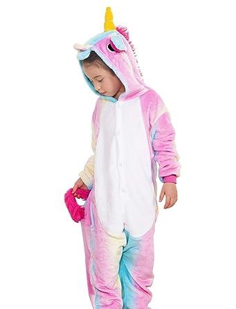 c6c9b12038 Amazon.com  Jxstar Kids Unisex Animal Unicorn Pajama Onesie Cosplay Costume   Clothing