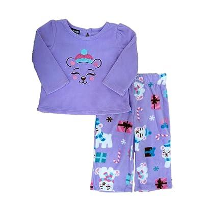Joe Boxer Infant Toddler Girls Bear Fleece Sleepwear Set Purple Pajamas PJs
