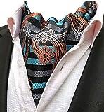 MOHSLEE Mens Aqua Striped Silk Cravat Ties Woven Wedding Ascot Pocket Square Set
