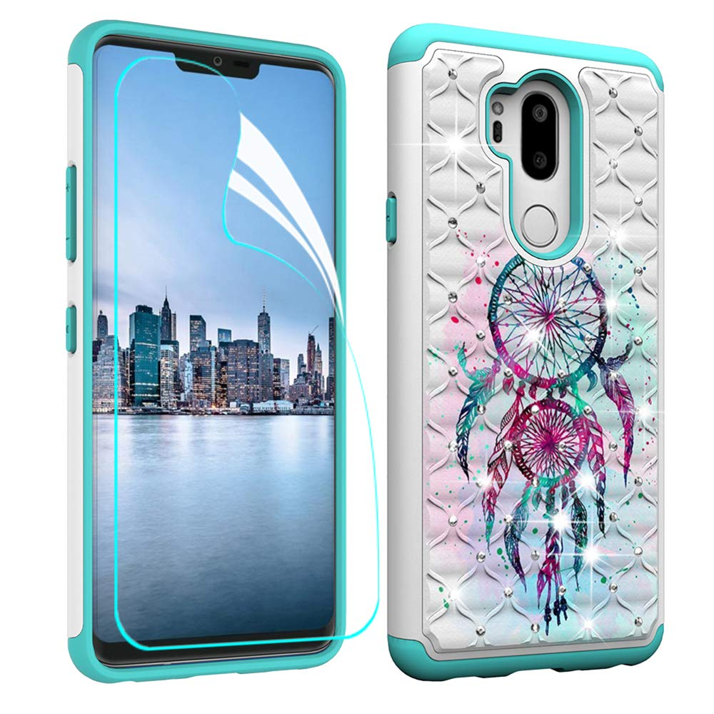 LG G7 ThinQ Case with Screen Protector,LG G7 Luxury Glitter Sparkle Bling Case,Studded Rhinestone Crystal Hybrid Dual Layer Armor Case for LG G7 / G7 ThinQ Blue Dream Catcher Mandala Flowers Berry Accessory